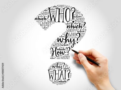 Fotografie, Obraz  Question mark, Question word cloud, business concept