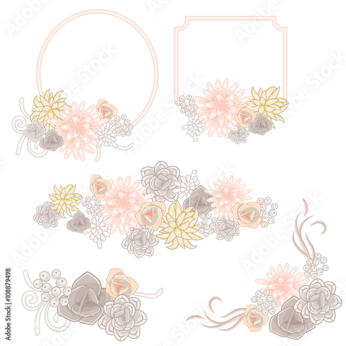 Rose And Chocolate Flower Invitation Badge Cards Vector Wreaths
