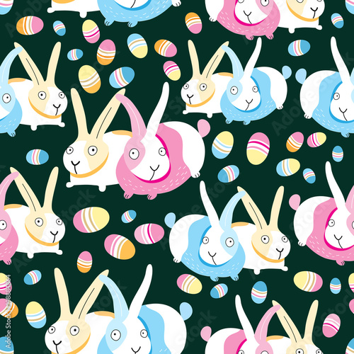 Cotton fabric Pattern of Easter bunnies and eggs
