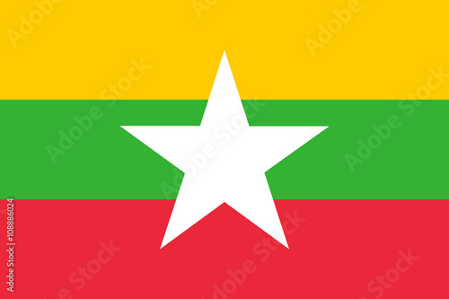 Vászonkép Flag of Myanmar