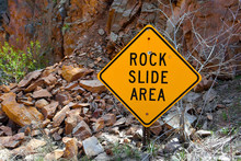 Rock Slide Area Sign With Fall...