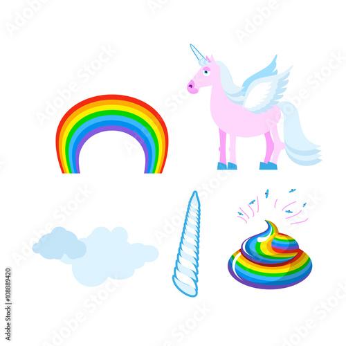 Fotobehang Draw Fantastic set of unicorn. Pink fabulous beast with wings. Blue m