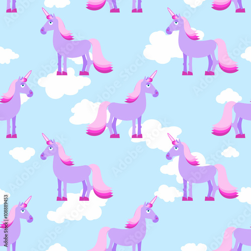 Poster Pony Purple Unicorn on blue sky with white clouds seamless pattern. F
