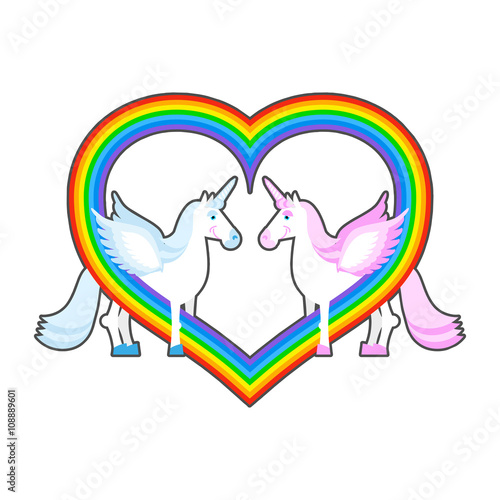 Fotobehang Draw Two unicorn and rainbow heart. Symbol of LGBT community. Pink a