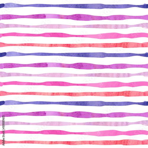 Materiał do szycia Akwarela poziome paski wzór. Tło w kolorze fioletowy i różowy w paski.