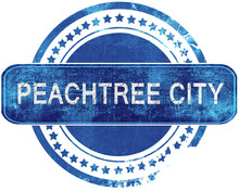 Peachtree City Grunge Blue Stamp. Isolated On White.