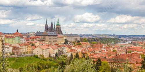 Staande foto Praag Spring Prague panorama from Prague Hill with Prague Castle, Vlta