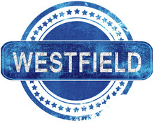 Westfield Grunge Blue Stamp. Isolated On White.