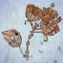 Creative Steampunk Mechanical Plant. Unusual Flower Made Of Copper Gears. Vector Illustration With Vintage Texture.