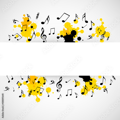 Fototapeta Abstract musical background with notes obraz