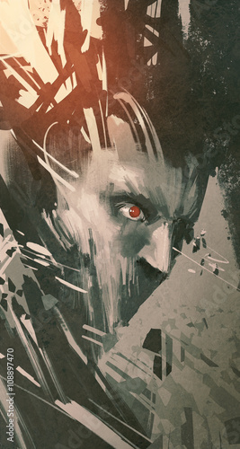 man face with modern grunge,sci-fi style,illustration