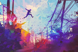 Fototapeta Młodzieżowe - man jumping on the roof in city with abstract grunge,illustration painting