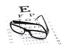 Black Eyeglasses With An Eye Chart