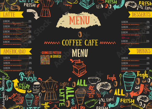 Fotomural Vecor Bistro restaurant menu design with hand drawn lettering on dark color