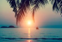 Beautiful Sunset At Tropical Sea Coast.