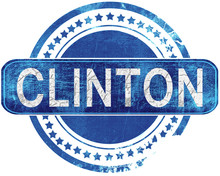 Clinton Grunge Blue Stamp. Iso...