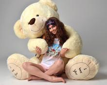 Young Beautiful Girl Hugging Big Teddy Bear Soft Toy Happy Smili