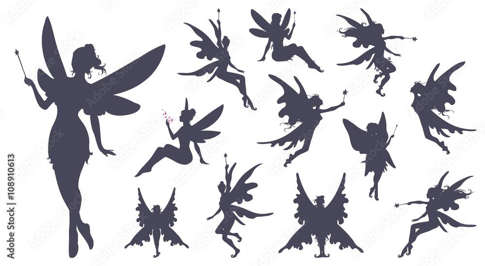 Fotografie, Obraz Cute Fairies silhouette collection, Little fairies set
