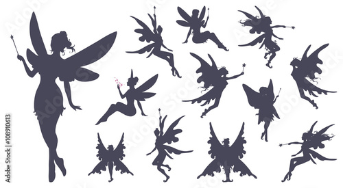 Cute Fairies silhouette collection, Little fairies set Wallpaper Mural