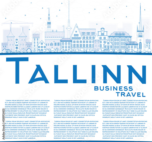 Outline Tallinn Skyline with Blue Buildings and Copy Space. Poster