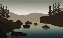 Rock In River With Gray Backgrounds