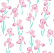 vector seamless iris flower pattern, gentle romantic floral background allover print, vertical orientation