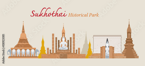 Fotografie, Obraz  Sukhothai, Historical Park, Thailand, World Heritage, Travel, Tourist Attraction