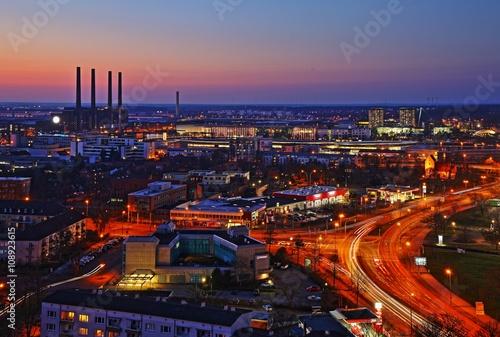 Photo  Wolfsburg sykline by night