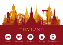 Thailand Landmark And Travel Icons, Travel Attraction, Traditional Culture
