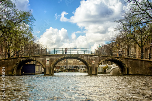 Photo  Bridge over canal in Amsterdam, the Netherlands