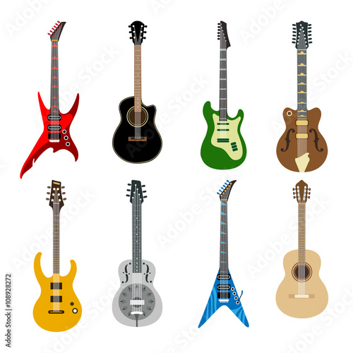Acoustic Guitars And Electric Guitars Colored Icons On White