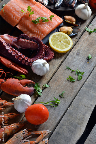 many types of fish on the table. Canvas Print