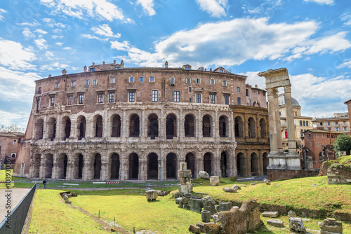 Beautiful panoramic view on the ancient Theatre of Marcellus( Teatro di Marcello ) at sunny day Canvas Print