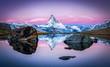 canvas print picture - Stellisee und Matterhorn in den Schweizer Alpen bei Zermatt, Schweiz