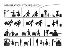 The Set Of Icons On The Theme Of Immigration And Tourism. Illustration Created With Black White Colors. Emigrant / Refugee Series