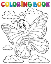 Coloring Book Happy Butterfly ...