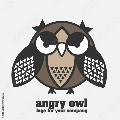 Fotografie, Tablou  Angry owl logotype Angry owl logo in pastel colors