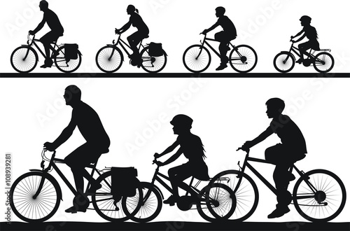 Fotografie, Obraz  cycling silhouettes - family trip