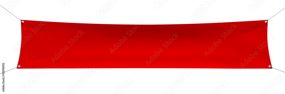 Fototapety, obrazy: Empty red banner with corners ropes