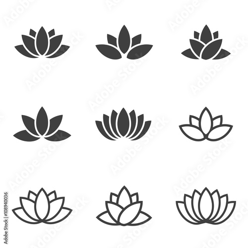 Photographie  Vector black lotus icons set on white background