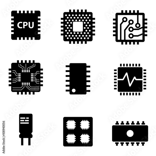 Fotografía  Vector black CPU microprocessor and chips icons set