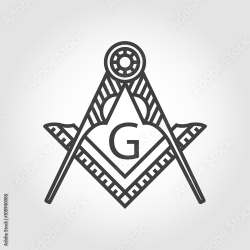 Fényképezés  Vector grey masonic freemasonry emblem icon on grey background