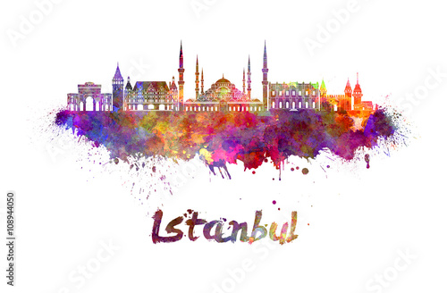 Photo  Istanbul skyline in watercolor