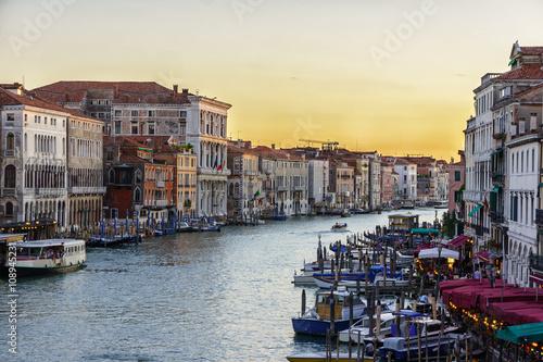 Fototapety, obrazy: Canal with gondolas sunset scene, Venice, Italy.