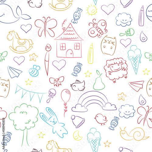 wektor ilustracja kolorowy dziecięcy rysunek na białym tle