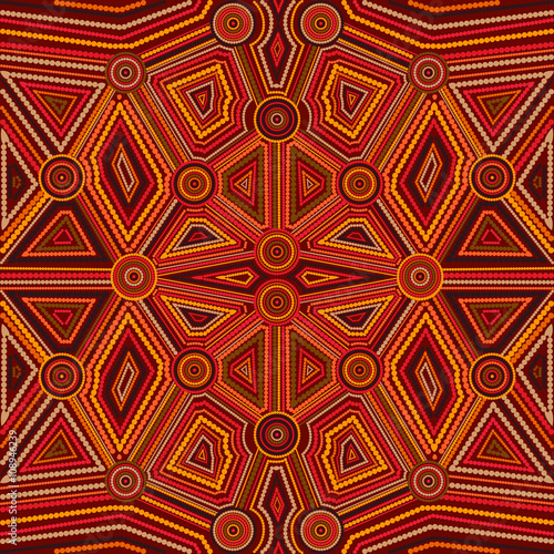 Photo Abstract style of Australian Aboriginal art
