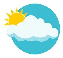 Flat Sun Behind Cloud Over Blue Sky. Sun. Cloud. Icon. Logo.  Isolated