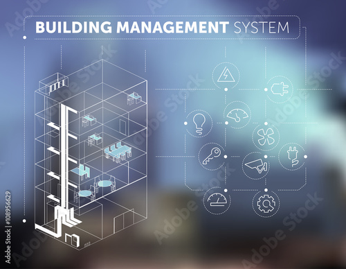 Fotografía  Building Management System Concept on Blurred Background