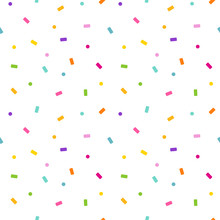 Rainbow Colorful Seamless Vector Pattern Background Illustration With Falling Paper Confetti And Polka Dots