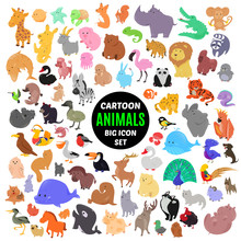 Big Set Of Cute Cartoon Animal...